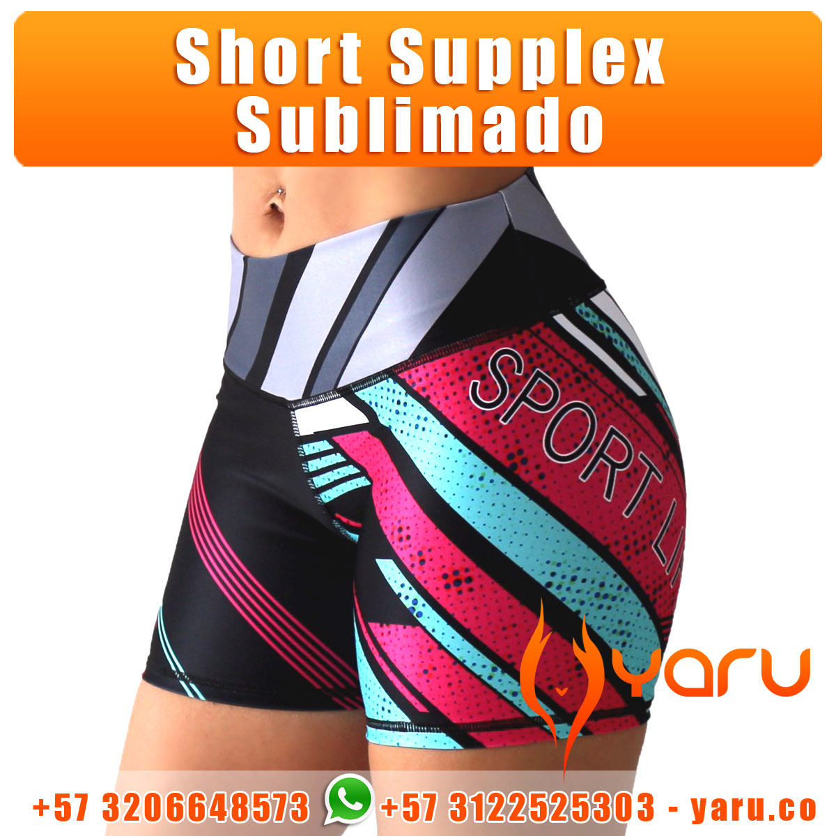 12b9d7d23a13b Short Supplex Sublimado Deportivo - YARU FABRICA FAJAS COLOMBIA